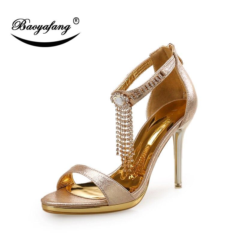BaoYaFang 2018 nouveauté été sandales cristal gland dames sandales or métal talon femelle fête sandales femmes chaussures de mariage-in Escarpins femme from Chaussures    2