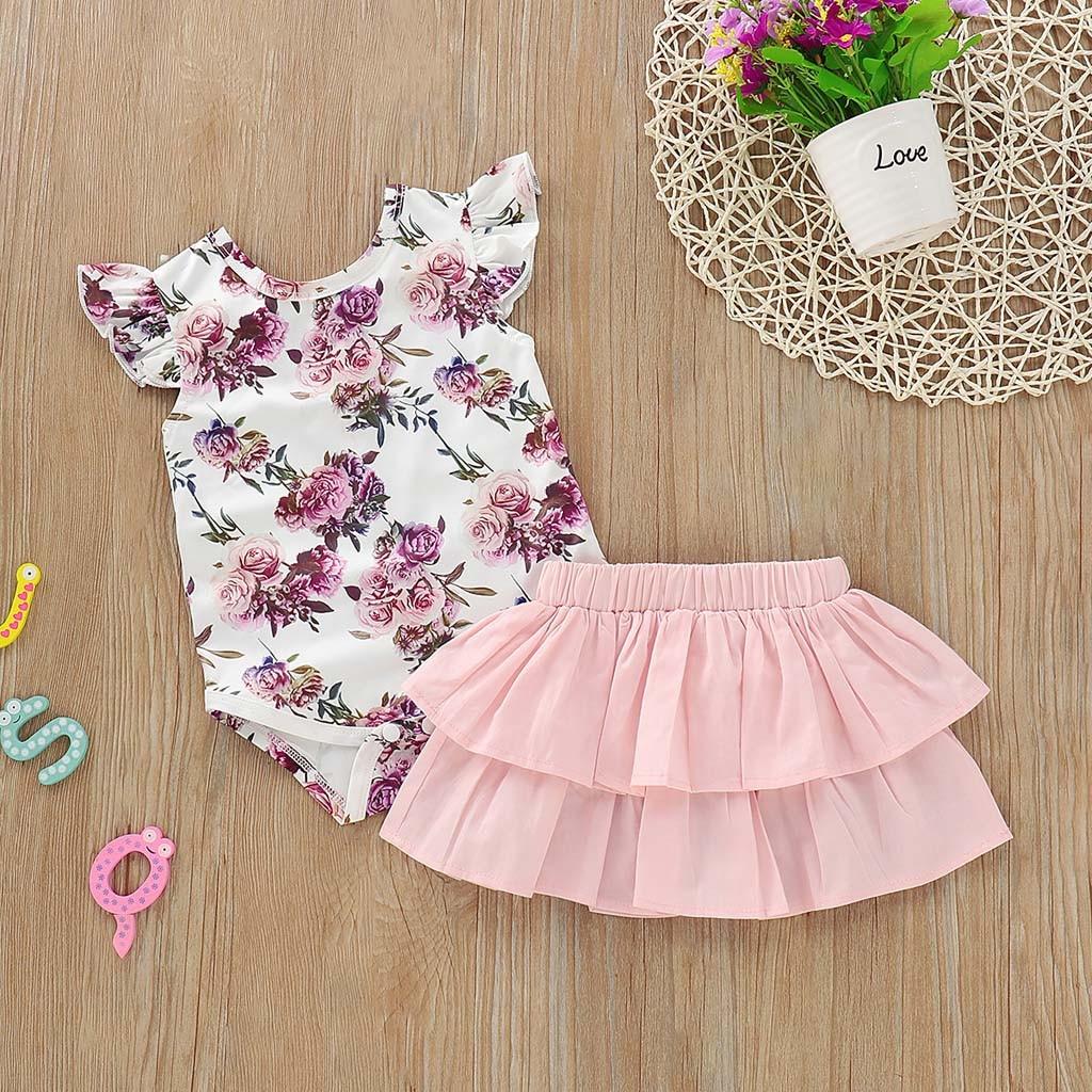 Heißer 2019 Neue Sommer set Verkauf Preis reduktion Neugeborenen Kleinkind Infant Baby Mädchen Floral Print Romper Rüschen Rock Outfits Set 20 *