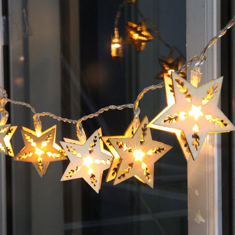 aliexpresscom buy five pointed star led lights flashing string lights starry wooden craft creative birthday gift decorative lights star lights from - Decorative Lighting