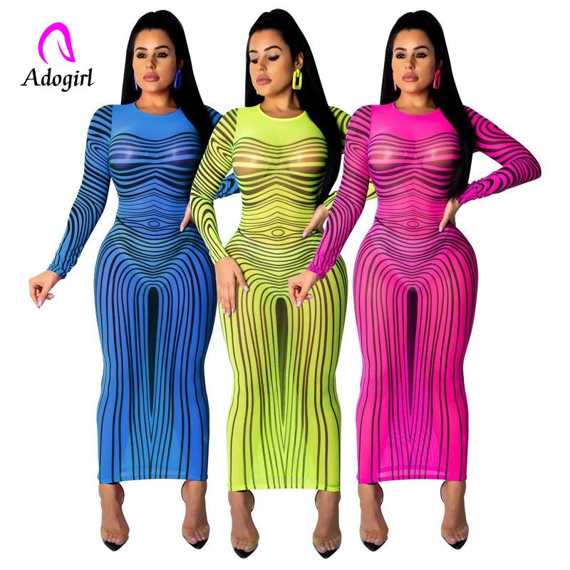 Gradient Color Plus Size Dress Women Mesh Spliced Bodycon Party Dress Summer Long Sleeve Perspective Mustard Yellow  Dresses
