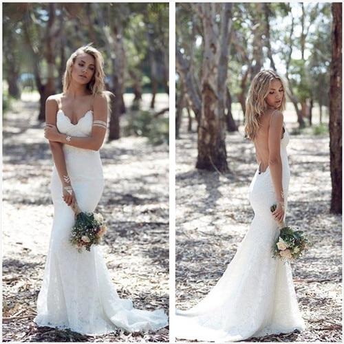 New Design Mermaid Lace Wedding Dress 2016 V Neck Spaghetti Straps ...