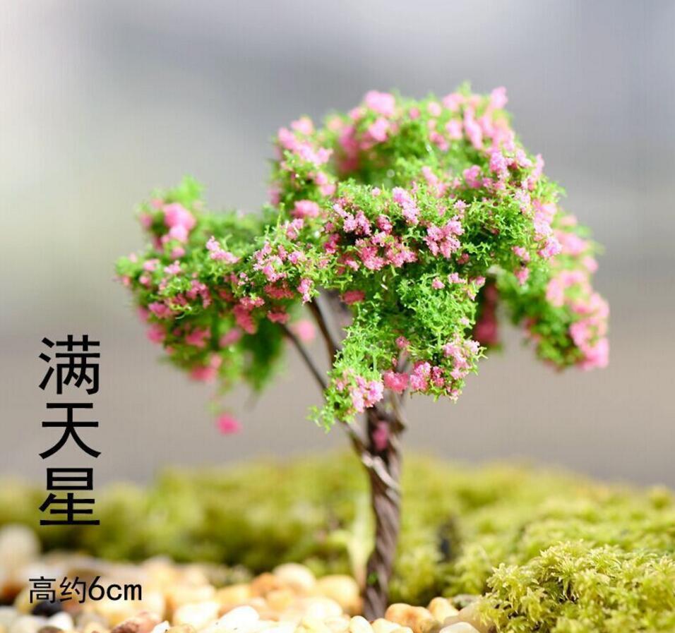 Online get cheap plastic craft tree green aliexpress alibaba 50pcs miniature plastic pinkgreen flowers trees for home decor bonsai craft garden ornament decoration izmirmasajfo