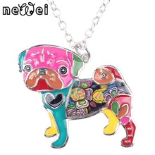 Bonsny Statement Metal Alloy Enamel Pug Dog Choker Necklace Chain Collar Bulldog Pendant 2016 Fashion New