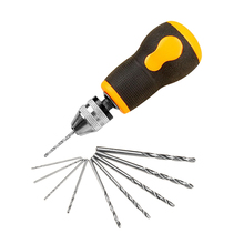 Portable Small Mini Size Hand Drill with 10pcs Twist Bits Set Tools Non-slip Short Handle for Hole In Wood