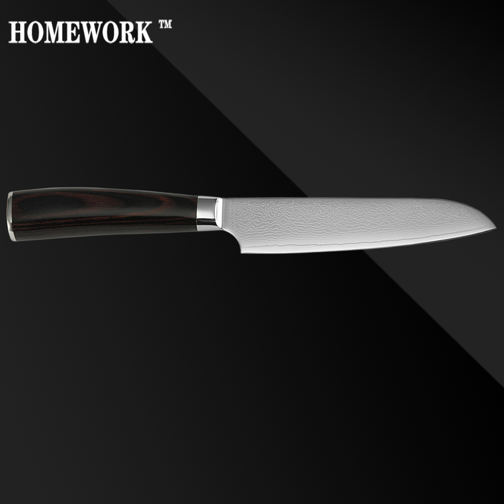 XYJ Brand VG10 Damascus Steel Knife Kitchen Santoku Knife 5 Inch High End Color Wood Handle