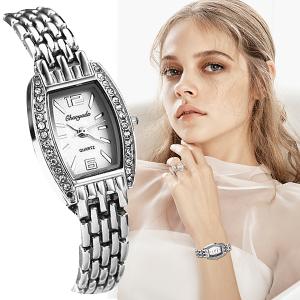 Women Silver Bracelet Watch Rhinestone Quartz Fashion Watches Girl Ladies Wristwatch Luxury Stainless Steel Mujer Relojes Satti