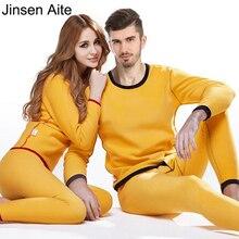 Jinsen Aite новая флисовая зимняя пара термобелья наборы толстые теплые мужские пижамы термос Женские кальсоны плюс размер JS647