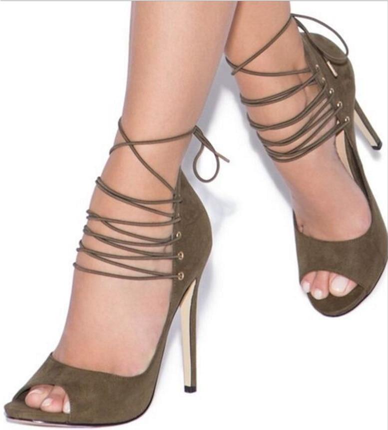 Blue Señoras Toe Thin Cruz Peep atado Sandalias green Verano F180630 Altos Chaussure Sexy Mujer Bombas Tacones Lace Zapatos Up rTr1nqA