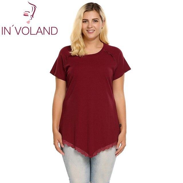 e436c787d2b IN'VOLAND Women T-Shirt Top Plus Sizes Summer Casual O-Neck Solid Short  Sleeve Lace Hem Asymmetrical Tunic Ladies Tshirt 5XL