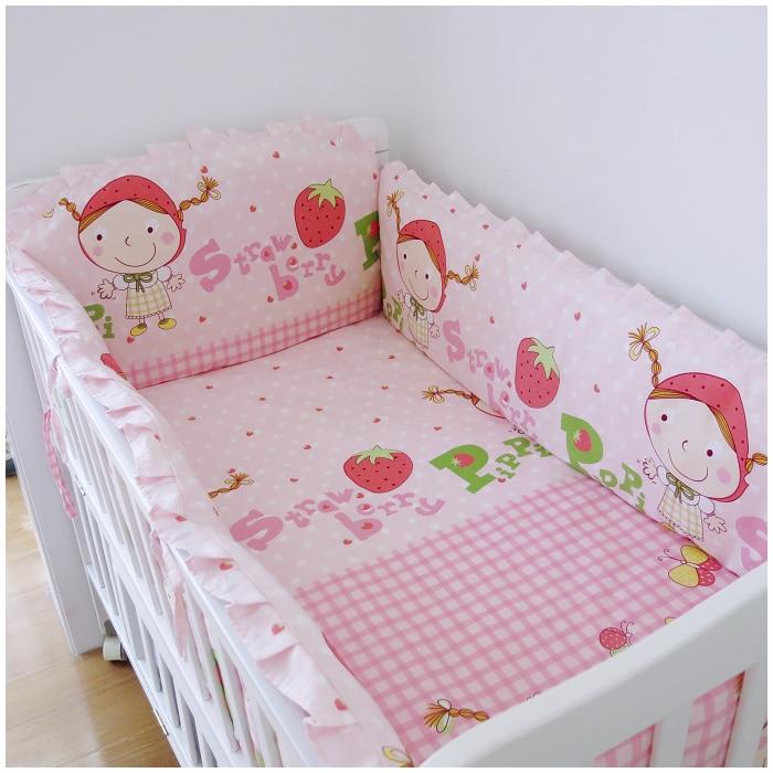 Promotion! 6PCS Strawberry girl Baby bed baby bedding set crib cot nappy bolsa de bebe (bumper+sheet+pillow cover) promotion 6pcs baby bedding set cot crib bedding set baby bed baby cot sets include 4bumpers sheet pillow