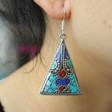 ER005 богемные тибетские серебряные Красочные Каменные треугольные серьги для женщин индийские ювелирные изделия в непальском стиле для девушек висячие серьги
