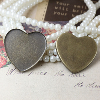 Brass 25mm 100pcs Antique Bronze Heart Blank Pendant Trays Bases Cameo Cabochon Setting for Glass/Stickers