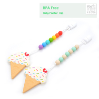 BPA Free Silicone Ice Cream Teething Chew Pacifier Clip Pendant Teether Toys Silicone Teething Baby Teething