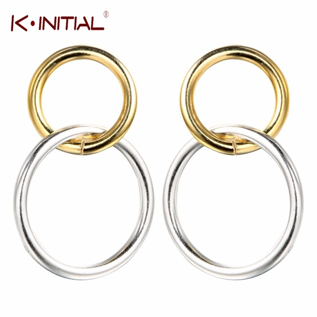 Kinitial Korean Double Circle Round Stylish Infinity Stud Earrings For Women S Gold With Silver Knot