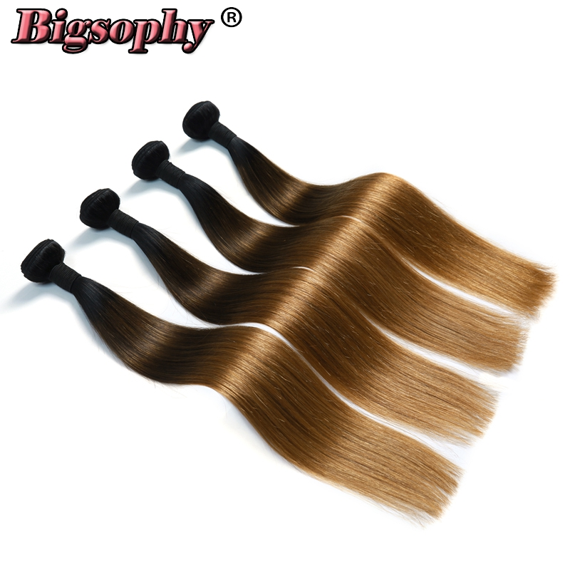 Bigsophy Indian Hair Weave Bundles Straight Hair 4 Bundles Remy Hair Extension Ombre Color 3 Tone 1B/4/27 Can Buy 3/4 Bundles