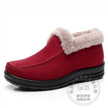 Warm Women's Shoes China Shoes Deep Mouth Slip Resistant Frosted Wine Red Plain Solid Color Shoes Elderly Soft Leather