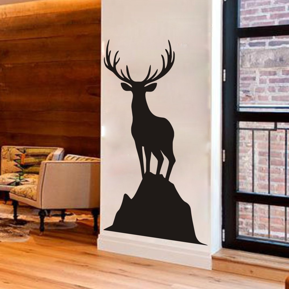 Elk Vinyl Wall Decal Caribou Standing On A Rock Harvest Sticker Art Wildlife Home Decoration Decor Mural 28 H X16 W In Stickers From