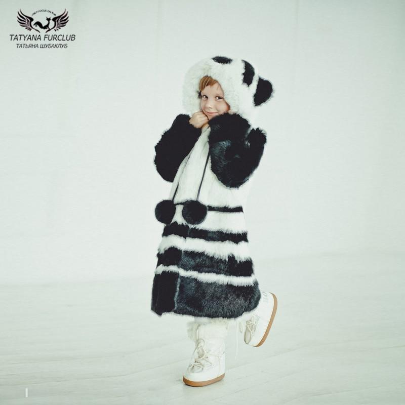 Tatyana Furclub/пальто с натуральным мехом кролика и лисьим мехом, куртка для детей, одежда с рисунком панды, плотная теплая верхняя одежда