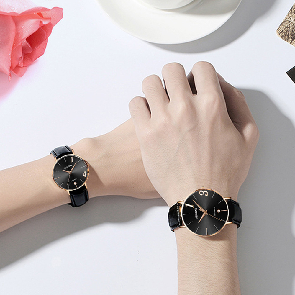 Couple Watch Quartz Men's Ladies Wrist Watches Analog Black Fashion Simple 2Size Leather Strap Valentine Love Birthday Gift F306