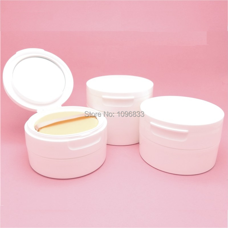 30G 40G 50G 10pcs/Lot Big White Cosmetic Loose Powder Box Sifter Mesh Jar Empty Blush Face Powder Container with Puff and Mirror 200pcs x 200g big frosted abs plastic cosmetic packaging bath salt jar with wooden spoon
