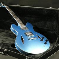 High Quality Semi Hollow Body Dave Electric Guitar Metal Blue Chrome Hardware Special Headstock