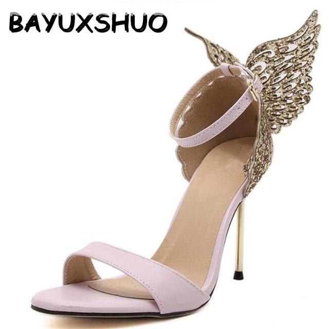BAYUXSHUO 2017 New Fashion Women Valentine Shoes Bronzing Sequins Big  Bowknot High Heels Sandals Stiletto/