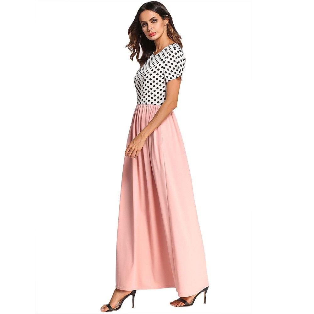 Womens Ladies Summer Short Sleeve Dot Print Long Maxi Casual Party boho dress vestido de festa robe femme over plus size