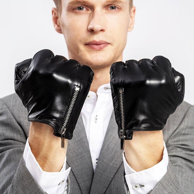 Unisex moške in ženske modne klasične kratke stranske zadrge v resnici Italija usnjene rokavice