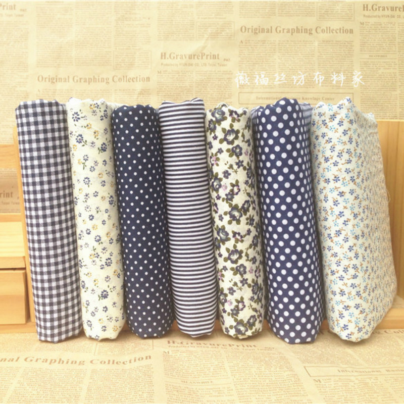 2m/lot Most Free Shipping Cotton Cloth Fabric Floral Dot Lattice Dark Blue Patchwork Baby Bedding Quilt Sheet Art DIY Wholesale