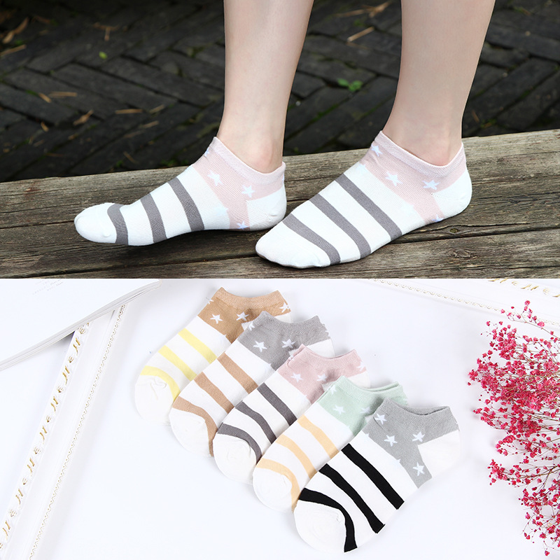 Women Cotton Socks Candy Color Stars Stripes Low Cut Breathable Stretchy Boat Ankle Socks