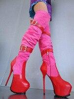 Zobairou 16cm High Heel Shoe Platform Stiletto Heels Women Prom Fetish Shoes Buckles Leather Motorcycle Thigh