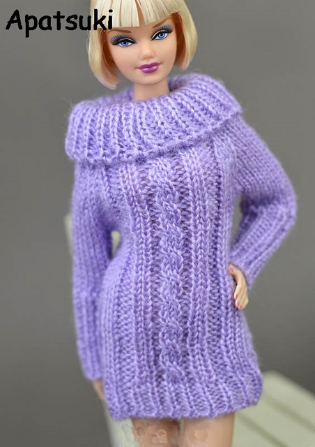 81a89d04ec Purple Doll Clothes Doll Accessories Knitted Woven Handmade Tops Coat Dress  Clothes Sweater For Barbie Doll Gifts Kids Toy