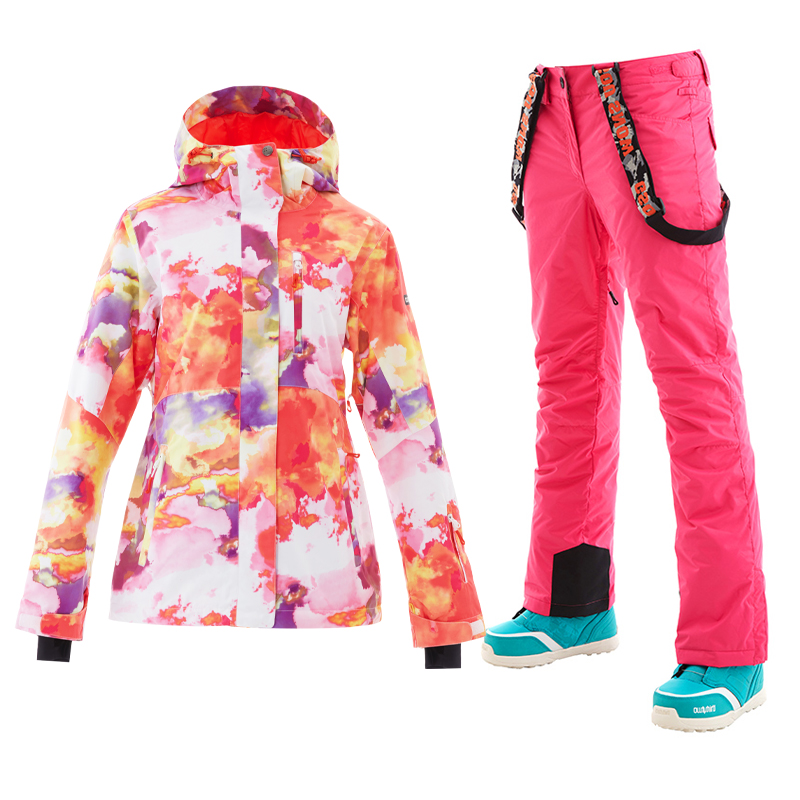 9e277b1a81 GS Colorful Ski Suits Female Snowboard Jacket Women Warm Skiing Snow Pants  Manteau Femme hiver de chaquetas Wintersport 2018 -in Skiing Jackets from  Sports ...