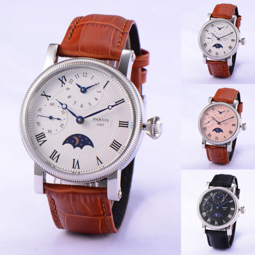 42mm PARNIS Steel Case embossment GMT Moon Phase relogio masculino Roman Numerals hand winding movement men's watch wholesale 42mm parnis pink dial gmt moon phase hand winding movement mens watch pa061