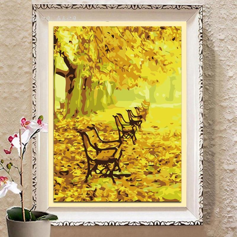 Modern 5D DIY Tree Bench Autumn Scenery Oil Painting Canvas Painting on Canvas Kid Room Wall Art Decoration Pictures By Number