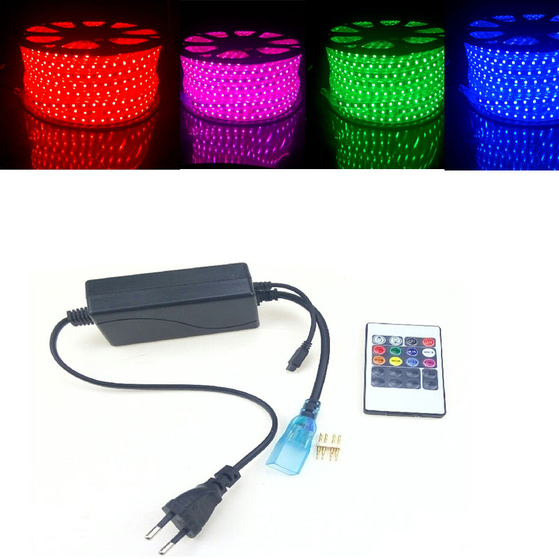 220 Volts LED Strip Light RGB Flexible Ruban 5050 60 leds m with 20 Keys Remote