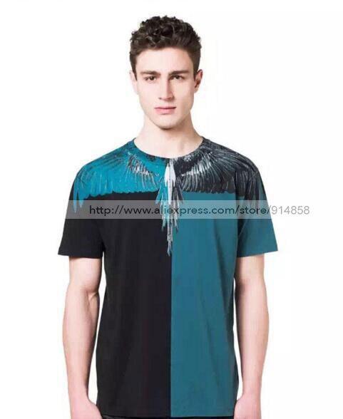 2016 Marcelo Burlon Black White Print Drop Wing Feather O Neck Short Sleeve Camiseta Hombre Tee