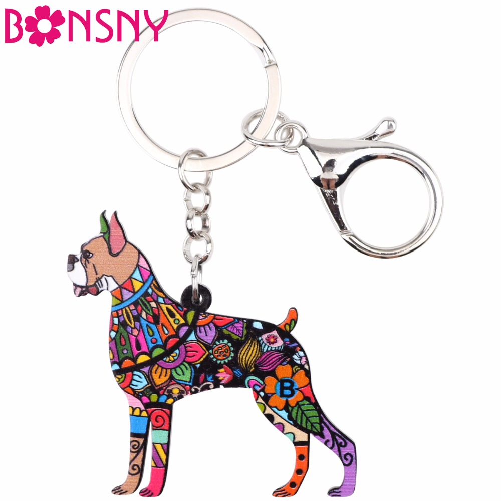 Bonsny Acrylic Animal Jewelry Boxer Dog Key Chain Key Ring Gift For Women Girl Handbag 2017 New Charm Men Keychain Pendant