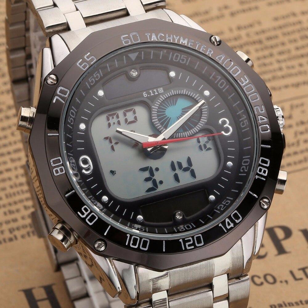 New Style Solar fashion watch military analog digital EL clock stainless steel mens Watch
