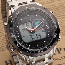 New Style Solar fashion watch military watch analog digital EL clock stainless steel men's Watch цена