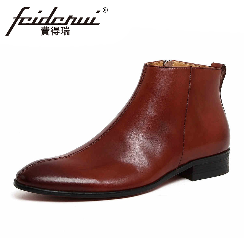 British Designer Genuine Leather Men's Handmade Ankle Boots Round Toe Zipper Martin Cowboy Man Formal Dress Outdoor Shoes YMX106 krusdan luxury brand platform man handmad outdoor ankle boots genuine leather round toe classic men s cowboy martin shoes