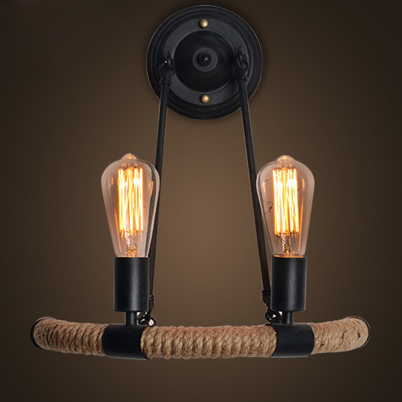 New The American village industrial wind Hemp rope wall creative nature personality Edison Cafe Hotel wall lamp GY115