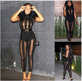 Sexy Club Jumpsuits 2016 New Women Sleeveless See Through Black Mesh Bodycon Party Bandage Rompers Jumpsuit Bodysuit Clubwear
