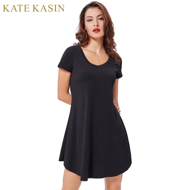 d791a5bd8c5c Kate Kasin Women Soft Cotton Women Summer Dresses 2017 Irregular Wide Hem  Comfortable Loose Robe Femme Solid Casual Vestidos