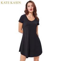 Kate Kasin Women Soft Cotton Women Summer Dresses 2017 Irregular Wide Hem Comfortable Loose Robe Femme