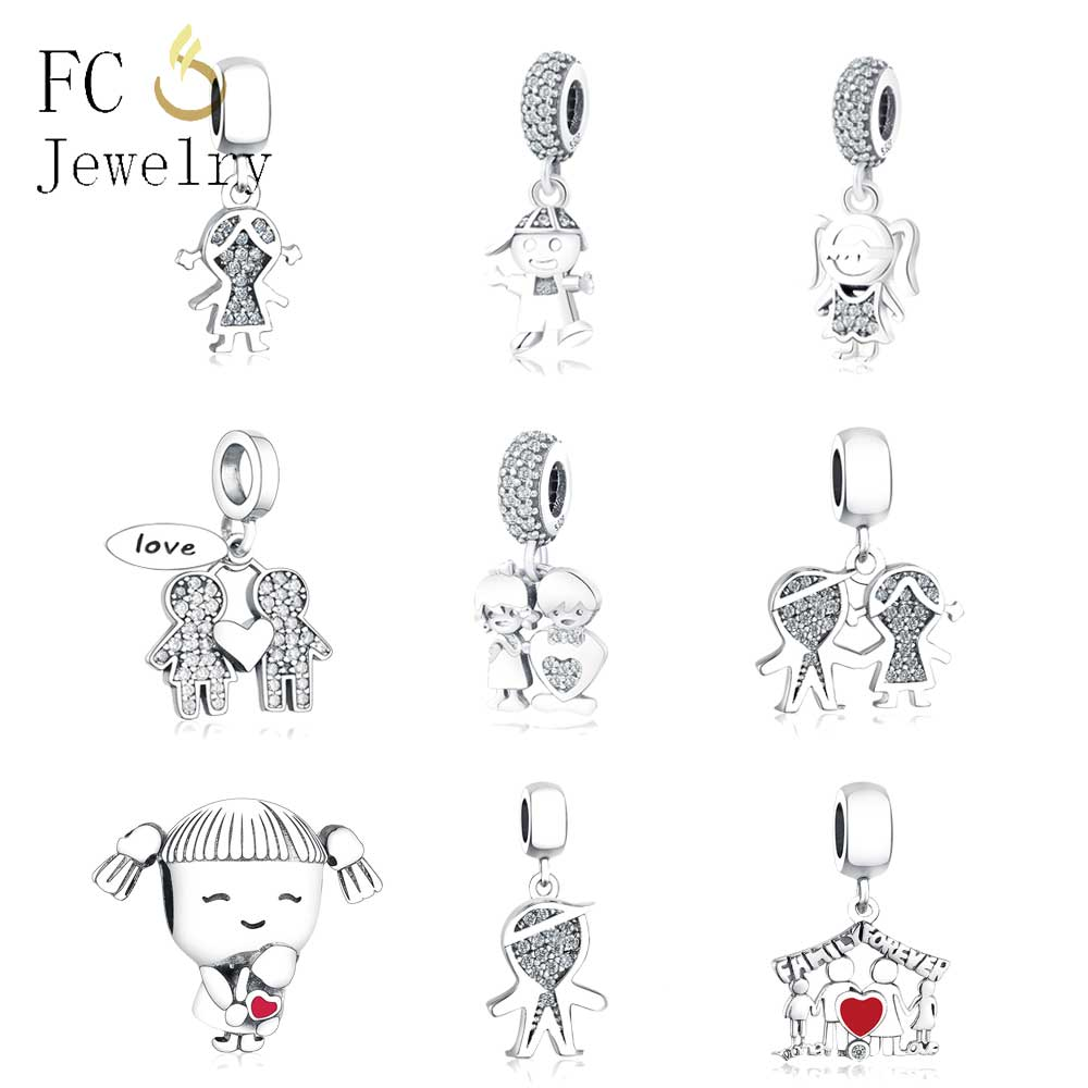 Fit Original Charms Bracelet 925 Sterling Silver Baby Boy or Girl Pendant Dangle Charm Bead DIY Jewelry Berloque(China)