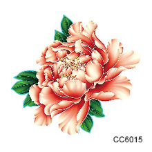 2 Pcs Small Tattoo Color Flower Peony Designer Temporary Tattoo Sticker Body Art Water Transfer Sticker For Face