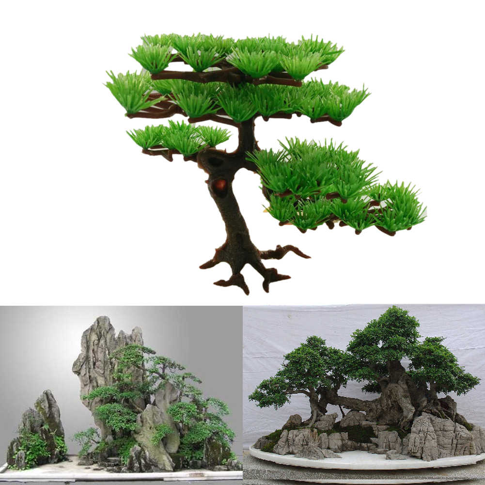 Aquarium Decoration Plastic Artificial Water Plant Pine Tree Bonsai Fish Tank Aquarium Aquatic Landscape Aquarium Accessories