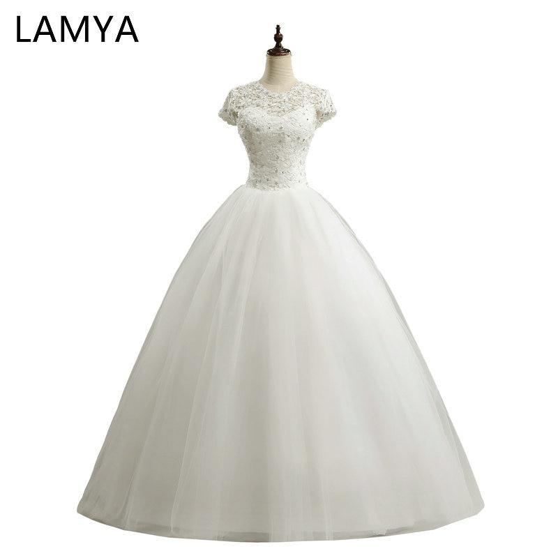 1eae2b74d7c340 LAMYA niestandardowy rozmiar romantyczne koronki suknia ślubna 2019 modny  krótki Bride suknie tanie suknie ślubne vestidos de novia