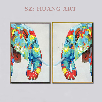 Painting Frameless Picture Hand Painted Animal  Elephant  oil Painting On Canvas Home Decor Wall Art Abstract Combination couple